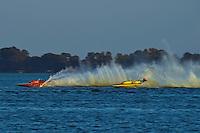 """Bill Pearson, GP-444 """"Edelweiss""""  (2008 Lauterbach built replica of a Grand Prix hydroplane) and Dave Richardson, GP-200 """"Lauterbach Special"""", (1976 Grand Prix class Lauterbach hydroplane)"""