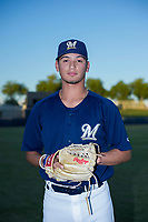 AZL Brewers pitcher Karlos Morales (13) poses for a photo before a game against the AZL Cubs at Maryvale Baseball Park in Phoenix, Arizona. AZL Cubs defeated the AZL Brewers 9-1. (Zachary Lucy/Four Seam Images)