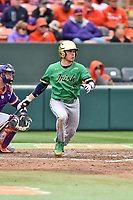 Notre Dame Fighting Irish shortstop Cole Daily (6) swings at a pitch during a game against the Clemson Tigers at Doug Kingsmore Stadium on March 11, 2017 in Clemson, South Carolina. The Tigers defeated the Fighting Irish 6-5. (Tony Farlow/Four Seam Images)