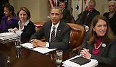 United States President Barack Obama (C) delivers remarks to reporters before meeting with (L-R) National Security Advisor Susan Rice, Homeland Security Advisor Lisa Monaco, Health and Human Services Secretary Sylvia Matthews Burwell and other members of his national security and public health teams to receive an update on the government's Ebola response in the Roosevelt Room at the White House December 12, 2014 in Washington, DC. Obama said that important progress had been made on the fight against Ebola in West Africa but that work would continue until the virus is stamped out. <br /> Credit: Chip Somodevilla / Pool via CNP