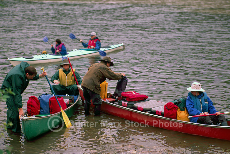 People preparing for Canoe Trip Expedition down Yukon River, Dawson City, YT, Yukon Territory, Canada