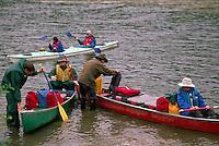 People preparing for Canoe Trip Expedition down Yukon River, Dawson City, YT, Yukon Territory, Canada