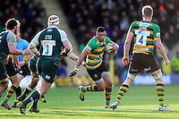 Luther Burrell of Northampton Saints goes on the attack. Aviva Premiership match, between Northampton Saints and Leicester Tigers on April 16, 2016 at Franklin's Gardens in Northampton, England. Photo by: Patrick Khachfe / JMP