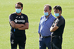 Getafe's President Angel Torres (c) with the coach Jose Bordalas (l) and second coach Javier Vidal during training session. August 3,2020.(ALTERPHOTOS/Acero)
