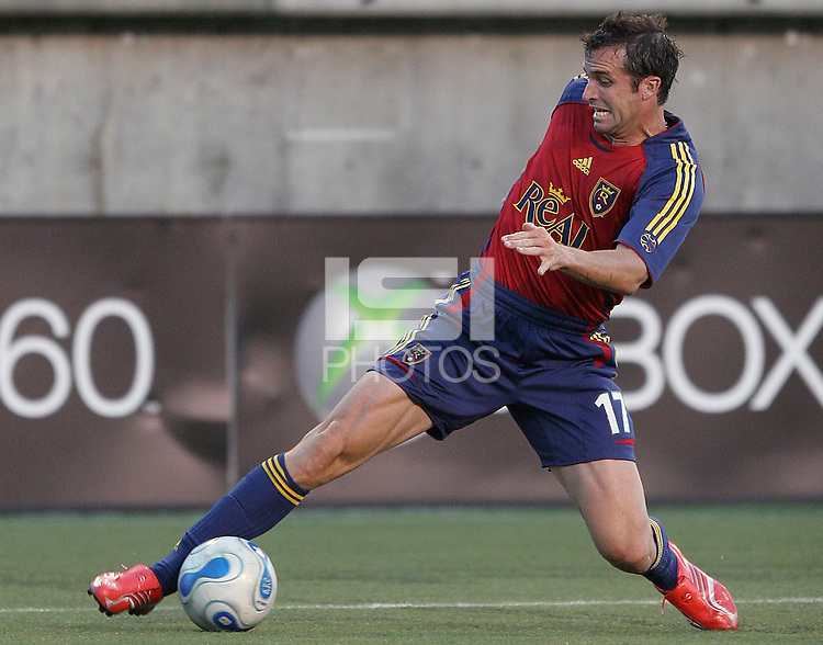 Chris Klein stretches for the ball in the 0-0 tie between Real Salt Lake and New England Revolution at Rice Eccles Stadium in Salt Lake City, Utah June 24, 2006