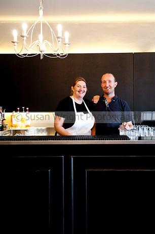 Owners of La Bruma restaurant, Eleonora Tombesi and Giacomo Zampese, Belgirate, Lago Maggiore, Italy