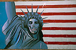 Anti-American mural outside the former American Embassy, Tehran, Iran, 11 July 2005. <br />