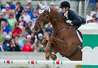 SIR DONOVAN, ridden by Katie Ruppel (USA), competes during Stadium Jumping at the Rolex 3-Day Event at the Kentucky Horse Park in Lexington, Kentucky on April 28, 2013.