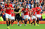 A Zlatan Ibrahimovic look a like confronts Zlatan Ibrahimovic of Manchester United  during the Premier League match at Old Trafford Stadium, Manchester. Picture date: September 24th, 2016. Pic Sportimage