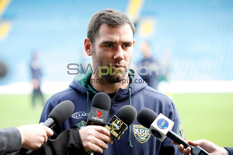 PICTURE BY VAUGHN RIDLEY/SWPIX.COM - Rugby League - Gillette 4 Nations 2011 - Australia Training Session - Elland Road, Leeds, England - 18/11/11 - Australia's Cameron Smith speaks to the media.