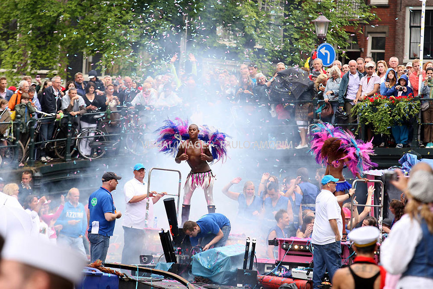 NETHERLANDS, Amsterdam : 2010-08-07 -Amsterdam turned pink on saturday when the annual Canal Parade, the conclusion of the Gay Pride week, passed through the canals od Amsterdam.