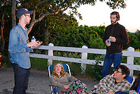 Director William J. Stribling, left, rehearsing his actors iat Scargo Tower, Dennis, Cape Cod, for feature film Lies I Told My Little Sister, with lead actress (and Woods Hole local) Lucy Walters and romantic lead John Behlmann