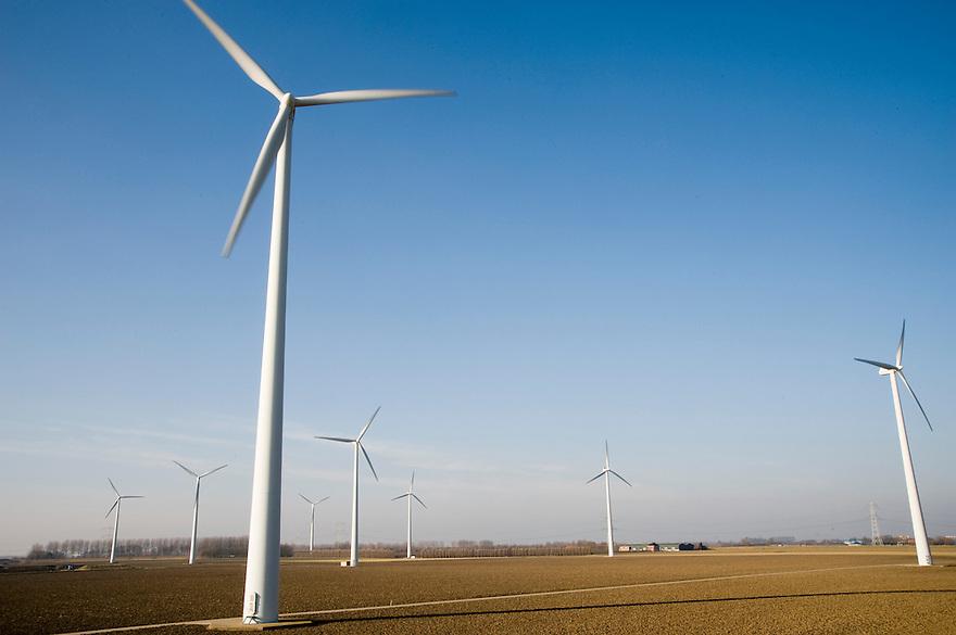 Nederland, Kapelle, 31 jan 2009.Windpark Willem-Annapolder is gelegen in de Zeeuwse Willem Annapolder in Kapelle aan de dijk langs de Westerschelde. De turbines staan 250 meter uit elkaar. Het zijn 10 turbines van NegMicon, op 70 meter hoog..Foto (c) Michiel Wijnbergh..