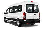 Car pictures of rear three quarter view of a 2019 Ford Transit Wagon 350 XLT Wagon Med Roof Sliding Pass. 148 5 Door Passenger Van angular rear