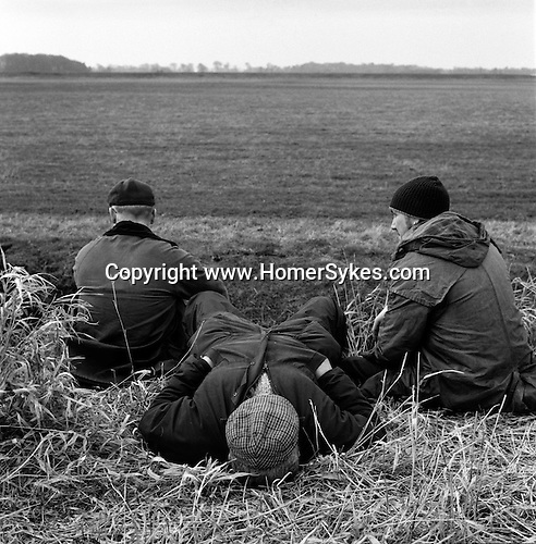 Hare Coursing... Spectators at the Waterloo Cup relax between courses. The running field is in front of them. On all formal coursing grounds there are a series of floughs incorporated into the design of the field. Near Altcar, Lancashire...Hunting with Hounds / Mansion Editions (isbn 0-9542233-1-4) copyright Homer Sykes. +44 (0) 20-8542-7083. < www.mansioneditions.com >....