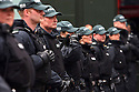 English police prescence line the streets of Belfast during protests against the G8 Summit in Belfast, Northern Ireland, 15 June 2013. Leaders from Canada, France, Germany, Italy, Japan, Russia, USA and UK are meeting at Lough Erne in Northern Ireland for the G8 Summit 17-18 June.