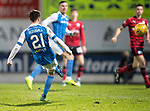 St Johnstone v Dundee&hellip;30.12.17&hellip;  McDiarmid Park&hellip;  SPFL<br />Stefan Scougall&rsquo;s free kick hits the bar<br />Picture by Graeme Hart. <br />Copyright Perthshire Picture Agency<br />Tel: 01738 623350  Mobile: 07990 594431