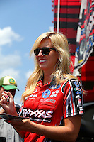 Apr 25, 2014; Baytown, TX, USA; NHRA funny car driver Courtney Force during qualifying for the Spring Nationals at Royal Purple Raceway. Mandatory Credit: Mark J. Rebilas-