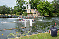 "Henley on Thames, United Kingdom, 23rd June 2018, Saturday,   ""Henley Women's Regatta"",  view, Coach, sitting, watching, the crews, in their Heats, pass the ""Temple Folly"", on. ""Temple Island"", Henley Reach, River Thames, Thames Valley,  England, © Peter SPURRIER/Alamy Live News"