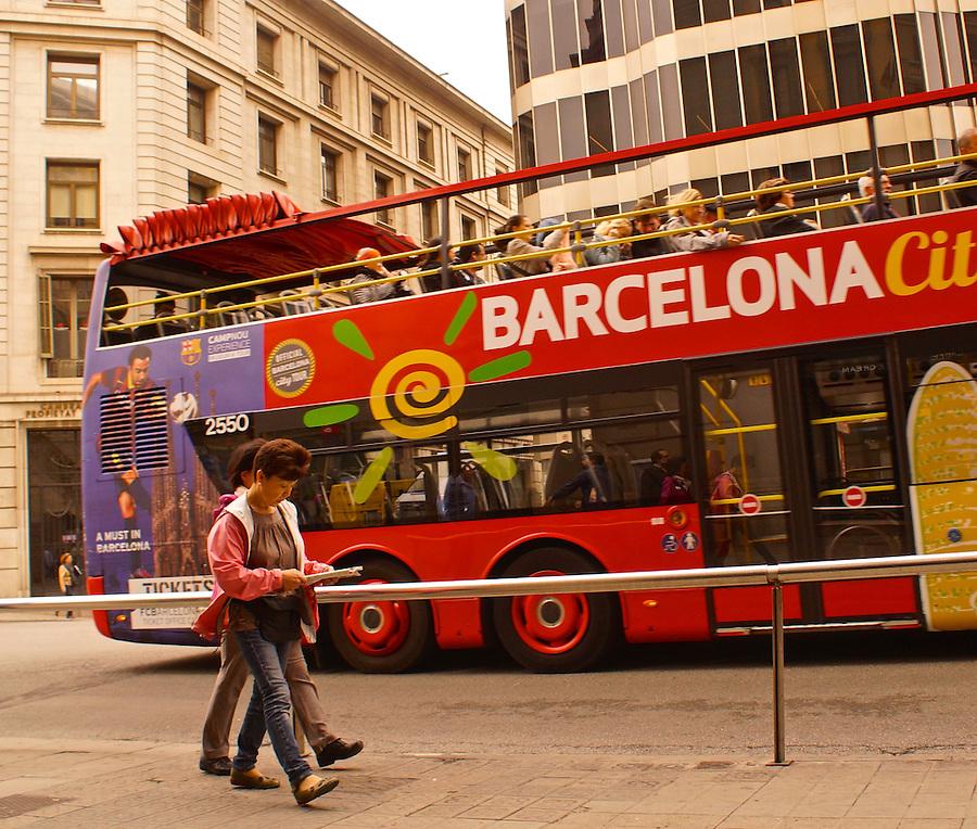 Barcelona, Spain, Double Decker Tour Bus