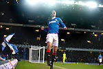 Bilel Mohsni celebrates after poking the ball in the net but the linseman is already flagging for Andy Little being offside but the big defender has not seen it yet
