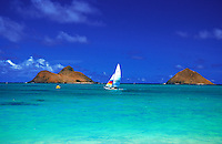 Sailing on Oahu's windward shore near lanikai beach