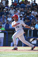 Curtis Terry (28) of the Spokane Indians bats against the Hillsboro Hops at Ron Tonkin Field on July 23, 2017 in Hillsboro, Oregon. Spokane defeated Hillsboro, 5-3. (Larry Goren/Four Seam Images)