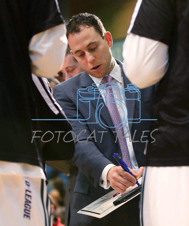 Reno Bighorns Head Coach Joel Abelson talks to his team before a D-League basketball game against the Bakersfield Jam in Reno, Nev., on Tuesday, Jan. 14, 2014. The Bighorns won 93-85.<br /> Photo by Cathleen Allison