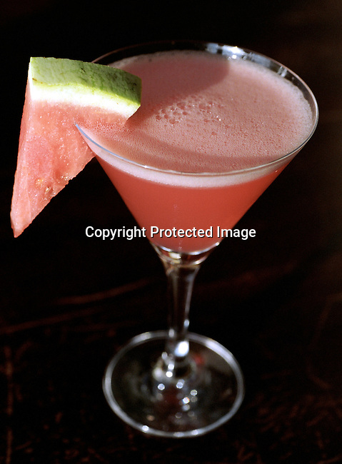A watermelon martini drink at Eclipse bar in Camps Bay, South Africa on October 24, 2003. The club is one of the most popular bars in Cape Town..Photo: Per-Anders Pettersson/ iAfrika Photos
