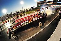 May 29, 2009; Topeka, KS, USA: NHRA top fuel dragster driver Scott Palmer during qualifying for the Summer Nationals at Heartland Park Topeka. Mandatory Credit: Mark J. Rebilas-