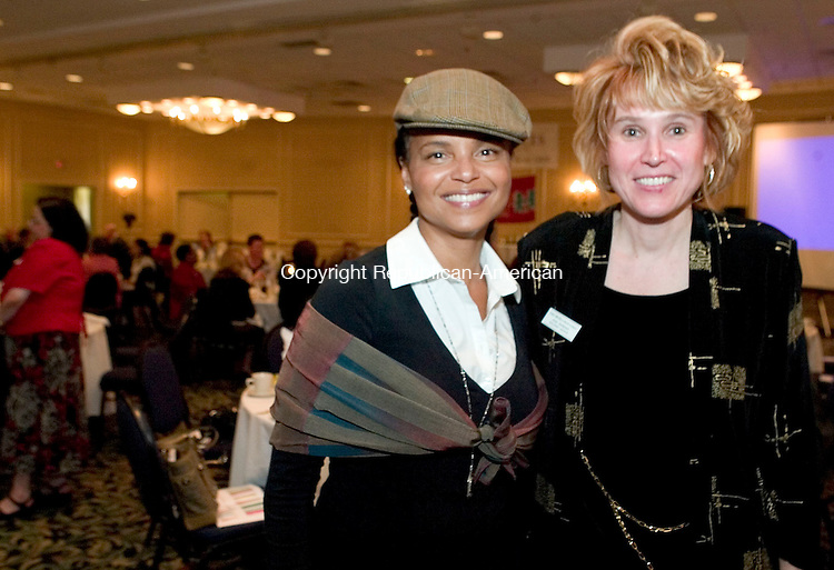 SOUTHBURY, CT- 14 APRIL 2008- 041408JT01-<br /> Actress Victoria Rowell with Anna Josephson of Family Services of Greater Waterbury at the &quot;Do You Believe in Us?&quot; annual recognition dinner for Family Services at Crowne Plaza Hotel in Southbury on Thursday, April 10. Rowell, who was raised in foster care, was the keynote speaker and recipient of the Family Services of Greater Waterbury Executive Director's Award.<br /> Josalee Thrift / Republican-American