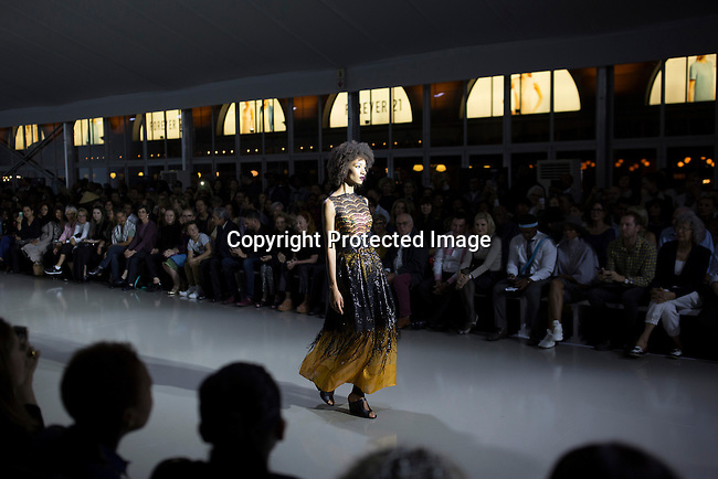 JOHANNESBURG, SOUTH AFRICA - MARCH 10: A model walks for the South African designer Marianne Fassler during a show at Johannesburg Fashion Week week on March 10, 2016, at Nelson Mandela Square Johannesburg, South Africa. (Photo by: Per-Anders Pettersson)
