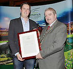With Compliments.  Limerick sporting heroes honoured at Cathaoirleach receptionsMEDIA RELEASE  Monday, 10 November 2014 Individuals and organisations from the local sports scene were honoured during a series of Cathaoirleach Receptions hosted by Limerick City and County Council last Friday. Cathaoirleach Cllr Kevin Sheahan  presents Newcastle West's Thomas Goulding with his award.  Thomas  swam himself into the record books on July 3rd when he completed an arduous solo swim across the English Channel.  Tom achieved his long-held dream of swimming one of the world's 'Seven Big Swims' on his first attempt..  Picture Liam Burke/Press 22