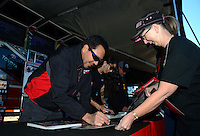 Oct. 26, 2012; Las Vegas, NV, USA: NHRA funny car driver Cruz Pedregon during qualifying for the Big O Tires Nationals at The Strip in Las Vegas. Mandatory Credit: Mark J. Rebilas-