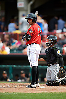 Erie SeaWolves catcher Tim Remes (39) at bat in front of catcher Francisco Mejia (17) during a game against the Akron RubberDucks on August 27, 2017 at UPMC Park in Erie, Pennsylvania.  Akron defeated Erie 6-4.  (Mike Janes/Four Seam Images)
