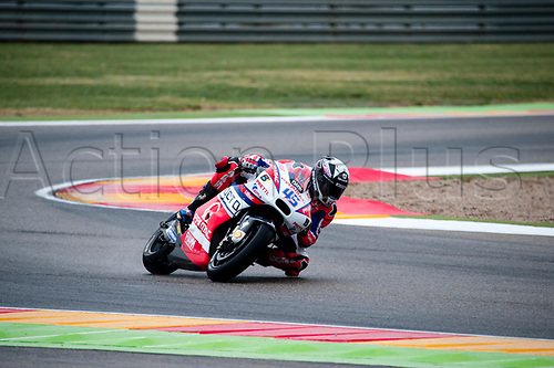 22nd September 2017, MotorLand Aragon, Alcaniz, Spain; MotoGP of Aragon, Friday free practice; Scott Redding of the OCTO Pramac Racing Motogp Team rounds the bend