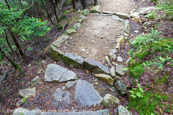 Open stone culvert (water bar) along the Mount Tecumseh Trail in Waterville Valley, New Hampshire USA during the summer months.