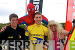 Spider man(Jack Boyle)stands over L-R Duncan Knox,Donal O'Reilly and Sam Robins on their float at the start of the Castlegregory summer festival last Sunday evening..