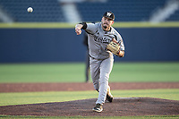 Western Michigan Broncos pitcher Tyler Thorington (24) delivers a pitch to the plate against the Michigan Wolverines on March 18, 2019 in the NCAA baseball game at Ray Fisher Stadium in Ann Arbor, Michigan. Michigan defeated Western Michigan 12-5. (Andrew Woolley/Four Seam Images)