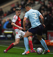 Fleetwood Town's Harvey Saunders battles with Accrington Stanley's Callum Johnson<br /> <br /> Photographer Dave Howarth/CameraSport<br /> <br /> Leasing.com Trophy Northern Section Round Three - Fleetwood Town v Accrington Stanley - Tuesday 7th January 2020 - Highbury Stadium - Fleetwood<br />  <br /> World Copyright © 2018 CameraSport. All rights reserved. 43 Linden Ave. Countesthorpe. Leicester. England. LE8 5PG - Tel: +44 (0) 116 277 4147 - admin@camerasport.com - www.camerasport.com