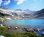 USA, California, Sierra Nevada Mountains.   A glacier lake in the High Sierra