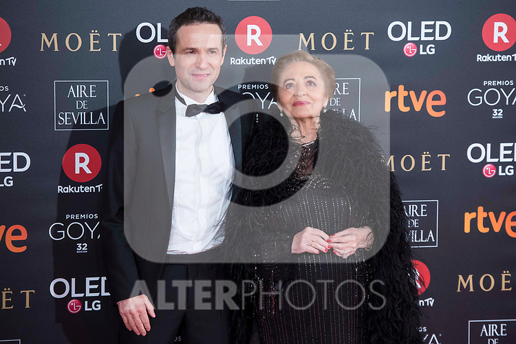 Gustavo Salmeron and his mother attends red carpet of Goya Cinema Awards 2018 at Madrid Marriott Auditorium in Madrid , Spain. February 03, 2018. (ALTERPHOTOS/Borja B.Hojas)