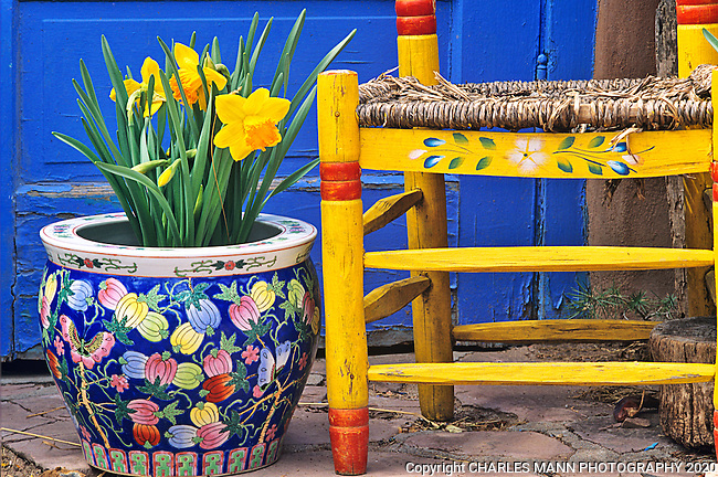 A yellow chair along with a Chinese vase and some daffodils make a jazzy spring trio in the garden of Deborah Dant of Tessuque, New Mexico.