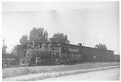 3/4 fireman's-side view of D&amp;RGW #318 beside the Montrose engine house.<br /> D&amp;RGW  Montrose, CO