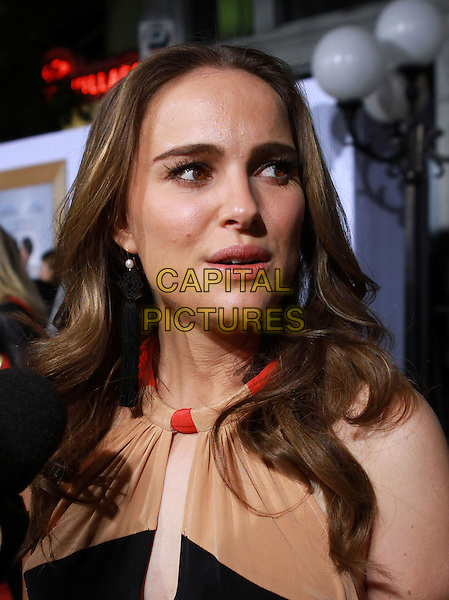 "NATALIE PORTMAN.""No Strings Attached"" Los Angeles Premiere held At The Regency Village Theatre, Westwood, CA, USA..January 11th, 2010.headshot portrait black red cream beige mouth open.CAP/ADM/KB.©Kevan Brooks/AdMedia/Capital Pictures."