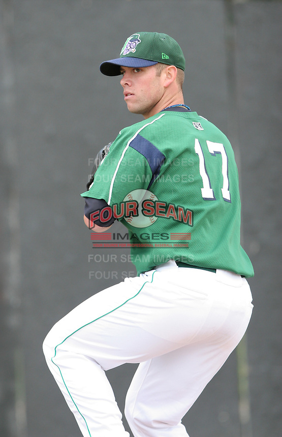Derek Blacksher of the Jamestown Jammers, Class-A affiliate of the Florida Marlins, during New York-Penn League baseball action.  Photo by Mike Janes/Four Seam Images