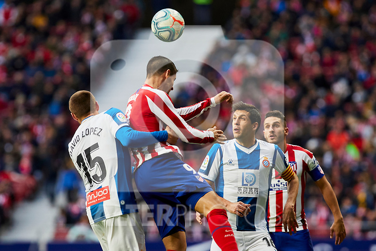 Alvaro Morata of Atletico de Madrid and David Lopez of RCD Espanyol during La Liga match between Atletico de Madrid and RCD Espanyol at Wanda Metropolitano Stadium in Madrid, Spain. November 10, 2019. (ALTERPHOTOS/A. Perez Meca)