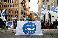 A banner says, no gender in the schools<br /> Rome April 4th 2019. Demonstration of the People of Family. People of Family is a social conservative political movement in Italy.<br /> photo di Samantha Zucchi/Insidefoto