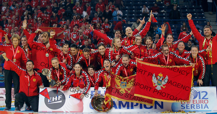 BELGRADE, SERBIA - DECEMBER 16: Montenegro handball team celebrate with the trophy during the Women's European Handball Championship 2012 medal ceremony at Arena Hall on December 16, 2012 in Belgrade, Serbia. (Photo by Srdjan Stevanovic/Getty Images)