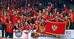 BELGRADE, SERBIA - DECEMBER 16: Montenegro handball team celebrate with the trophy during the Women's European Handball Championship 2012 medal ceremony at Arena Hall on December 16, 2012 in Belgrade, Serbia. (Photo by Srdjan Stevanovic/Getty Images)